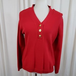 Charter Club Red V Neck Sweater